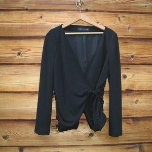 Zara Black Full Wrap Jersey Jacket